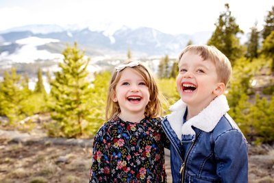 Boy and girl in the Colorado mountains