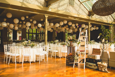thornbridge hall with vintage ladder and lanterns