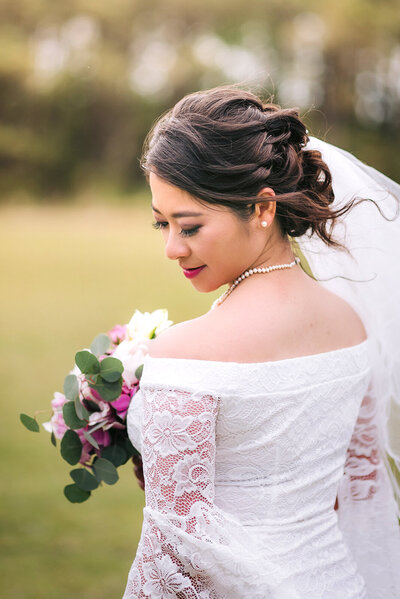 bride portrait in greenery