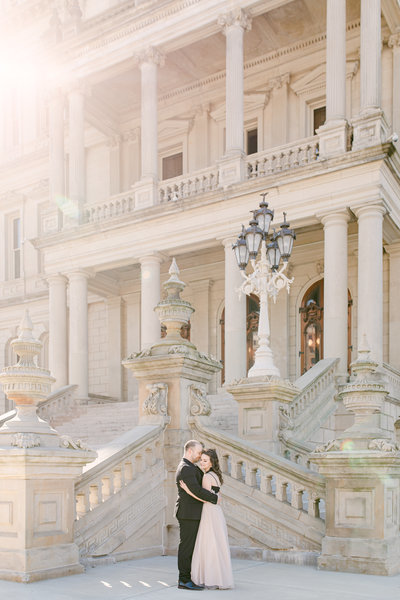 Engagement pictures at Lansing State Capital Building