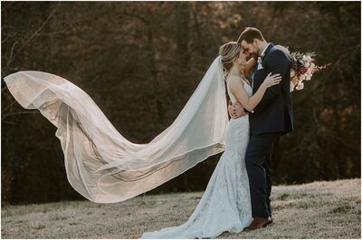 bride-and-groom-field-veil