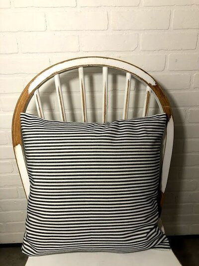 Black and White linen stripe