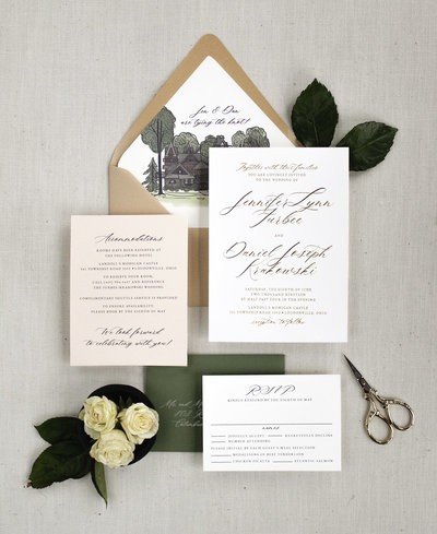 Brittney Nichole Designs Timeless Elegance Wedding Invitation - Beautiful Modern Calligraphy and a custom watercolor envelope liner