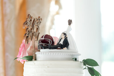 Cake topper with bride dragging groom  behind her | Virginia Beach Wedding DJ and Photo Booth Company