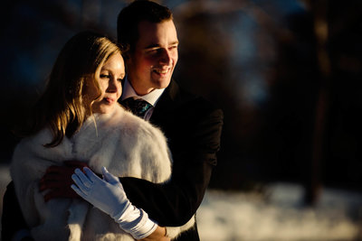 Winter wedding photo of bride and groom