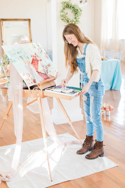 Alexandria Salmieri live wedding painting at Banyan Estate in Malabar FL