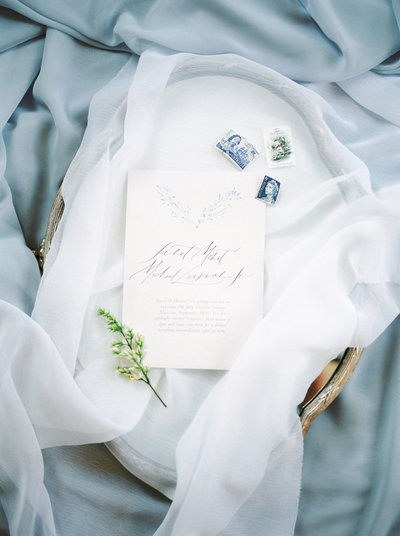 Laurelville Manor Wedding Soft Blue Invitation