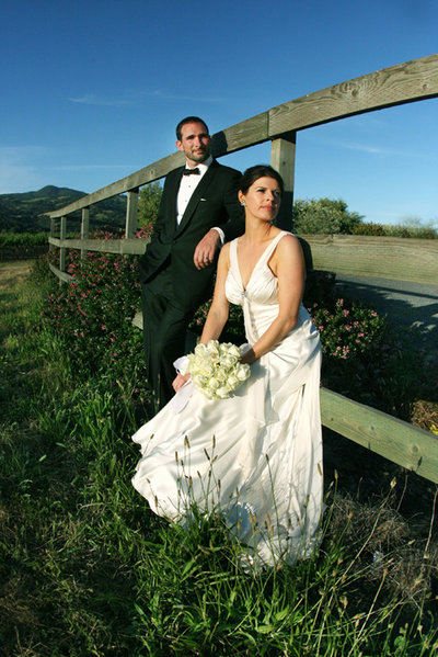 wine country bride and groom