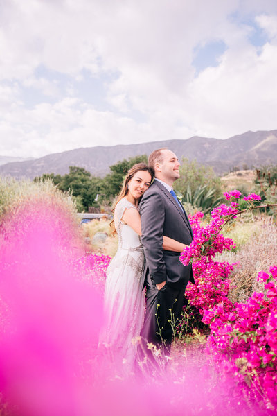 vintage bride and groom first look portrait shot at this mountain wedding in Ojai