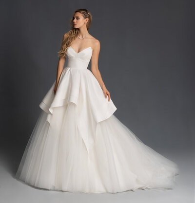 Hayley Paige bridal gown - White silk razmir and tulle ball gown, structured pendulum strapless neckline, cascading tiered skirt with tulle underlay.