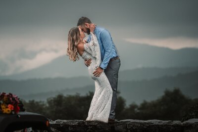 asheville elopement photographer in the beautiful blue ridge parkway with a fun couple