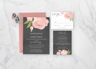 a bold rose floral invitation suite perfect for a garden wedding