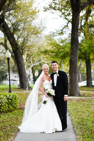 Bride and groom under the oaks , Biloxi, MS Wedding