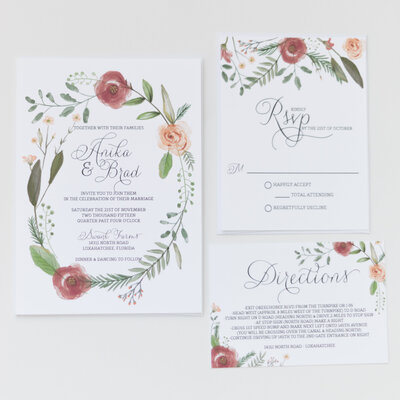 wedding invitations with floral circle frame