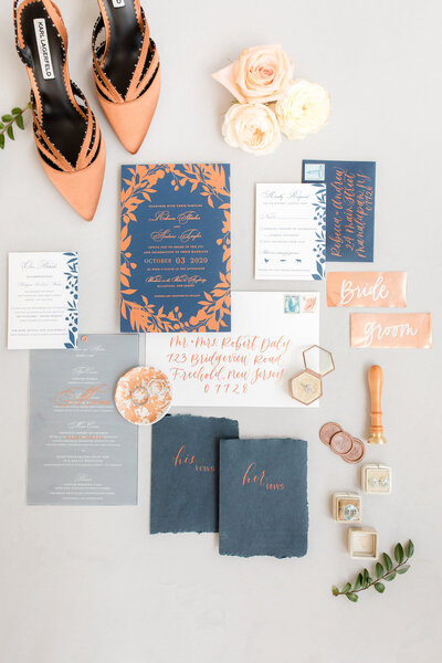 Custom Navy and Copper Wedding Invitation | Nikisha King Design