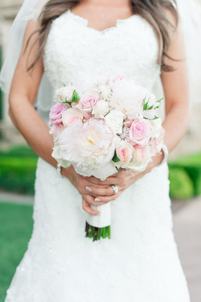 blush bridal bouquet white peony