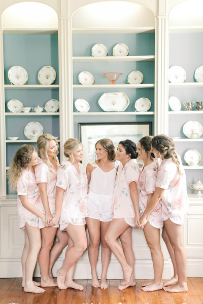 Bride and bridesmaids getting ready at San Francisco wedding