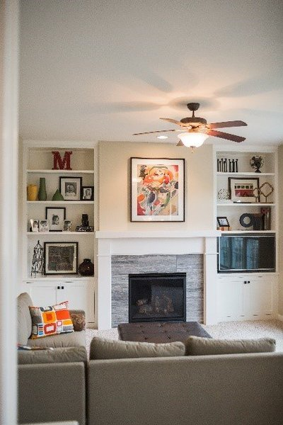 fireplace with built in shelving