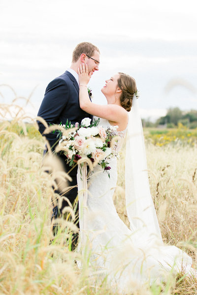 White Willow Farms field bride and groom