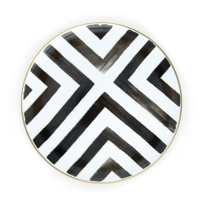 Black and white stripe charger plate
