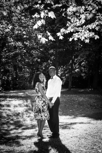 Black and White Engagement portrait