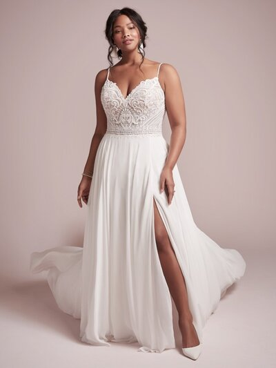 plus size sheath wedding dress with chiffon skirt