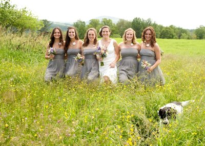 bridal party in the field with the groom's dog