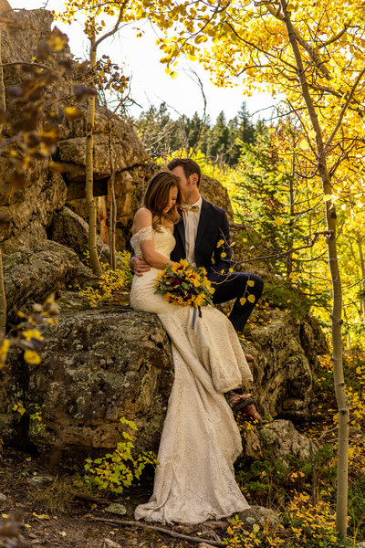 Moonrise During a Colorado Elopement Inspiration Photoshoot by Gabby Jockers Photography
