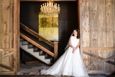 Bridal Portrait with chandelier at Greengates Farmhouse, Laurel, MS, MIssissippi Wedding