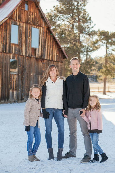 Denver Family portrait in front of old barn