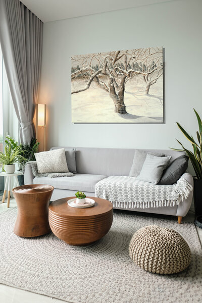 Cherry Winter cream wall and cream linen couch
