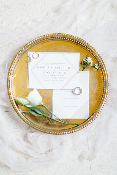 Fine art wedding photography of Invitation gatsby inspired