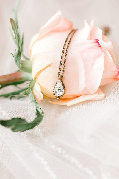 Peach Rose with Diamond Pendant Necklace.