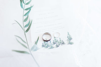 wedding rings on wedding invitation