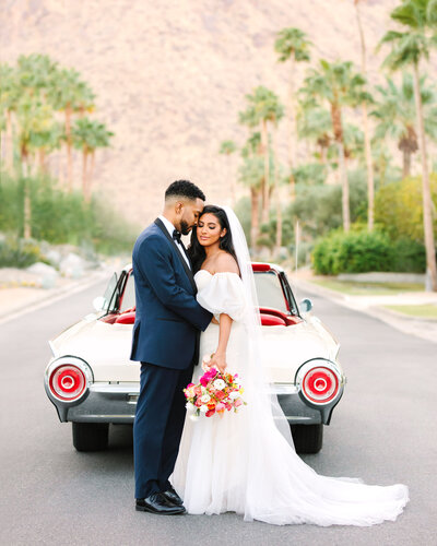 Palm Springs elopement with classic car