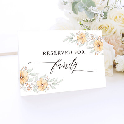 reserved for family sign with orange florals