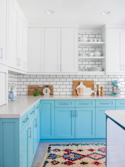 White and blue vintage kitchen renovation ideas | Los Angeles Interior Design