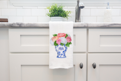 Floral Monogram Ginger Jar Tea Towel Sink