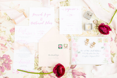 hope taylor workshop vellum floral wedding invitation vintage stamps 5