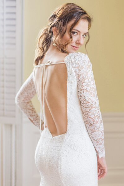 Photo link to more details about the Hudson all lace wedding dress with sleeves