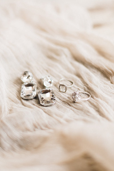 Wedding rings and earrings
