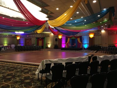 colorful ceiling draping