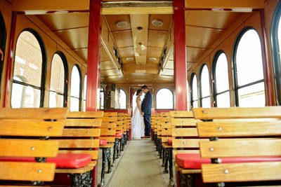 George's 217 wedding couple in vintage trolley