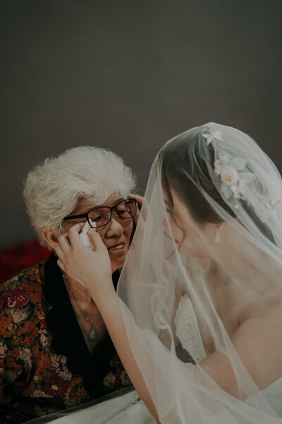 bride's grandma is crying