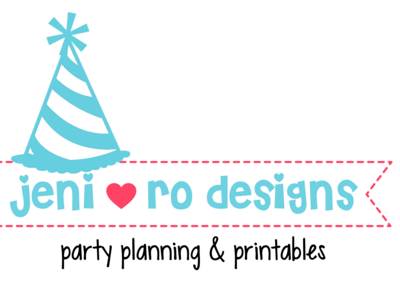 jeni ro designs logo with party hat 5in