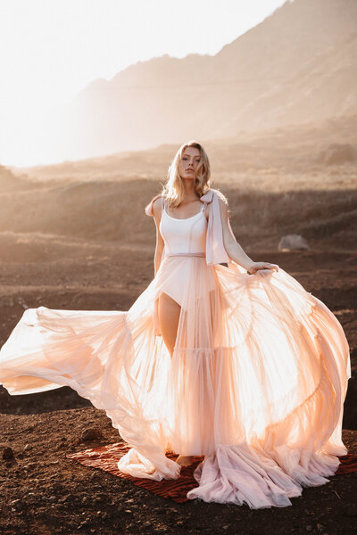 wearing-etherial-pink-wedding-dress-sheer