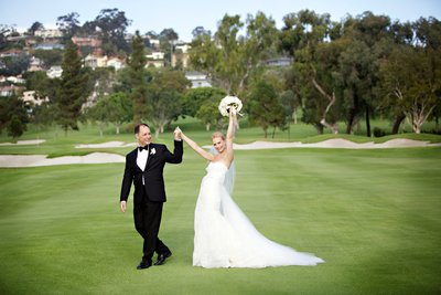 Bride and Groom walking on golf course at La Jolla Country Club