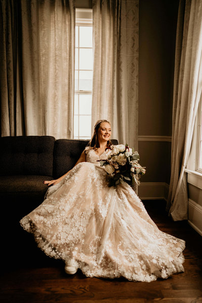 Beautiful Bridal portraits in natural window light at Maple Grove Estates