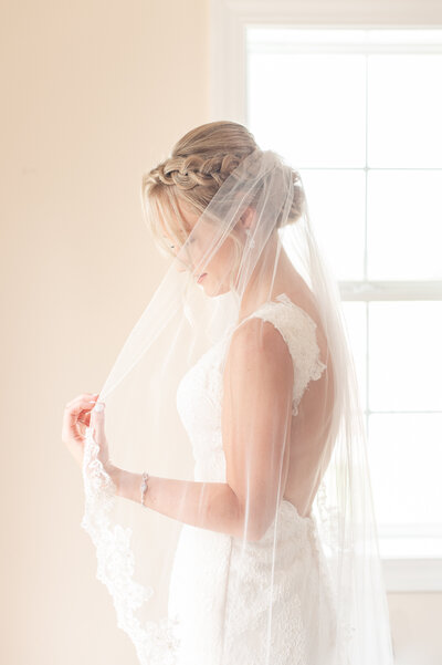 bridal veil with beaded trim blush dusty blue Heritage Alpaca Farm wedding indiana wedding venue indiana wedding photographer rose courts photography