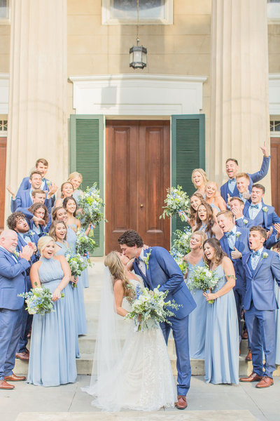 Bridal party cheering at Mississippi wedding